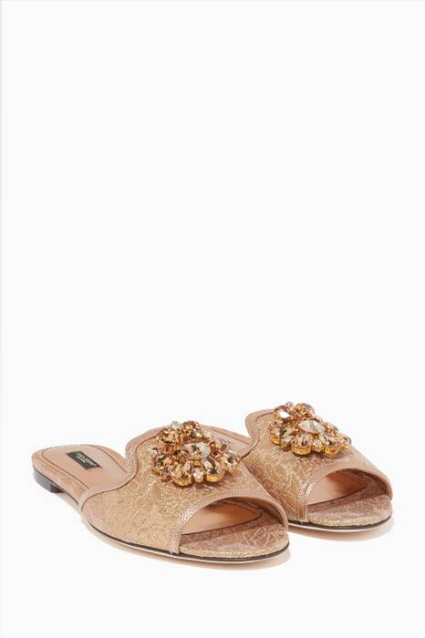 Gold Jacquard Embellished Bianca Sandals