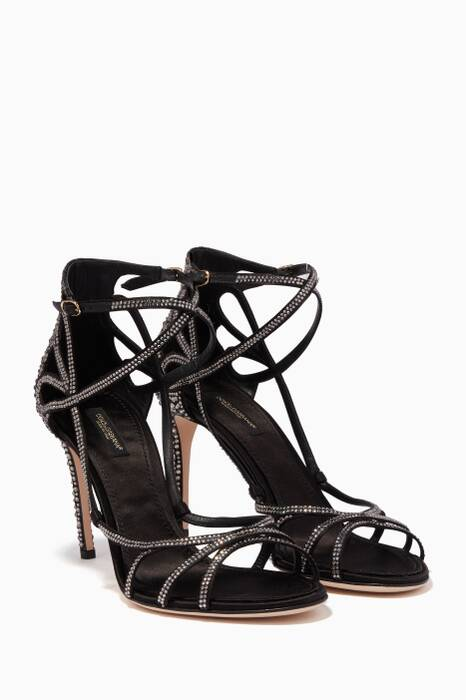 Black Crystal-Embellished Keira Sandals