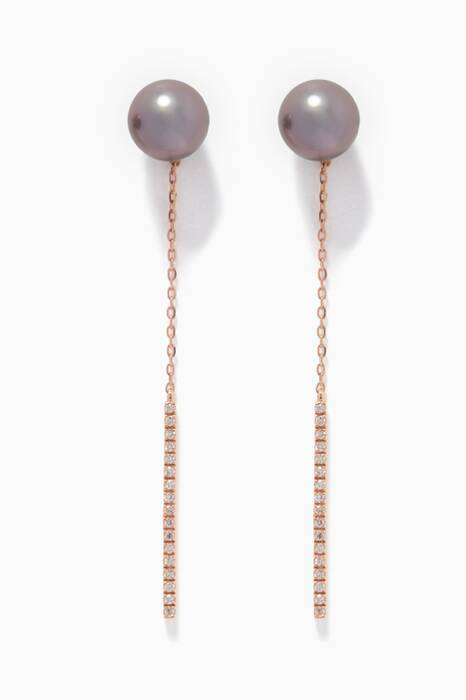 Rose-Gold, Diamond & Zoja Pearl Earrings