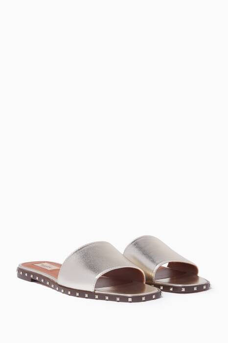 Gold Metallic Soul Rockstud Slides