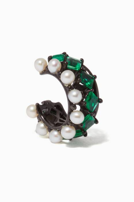 Black-Gold, Emerald & Pearl Princess Ear Cuff