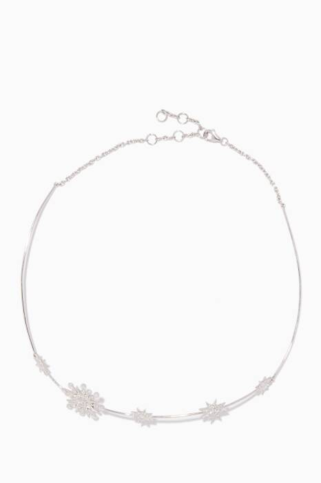 White-Gold & Diamond Stars Orbit Choker