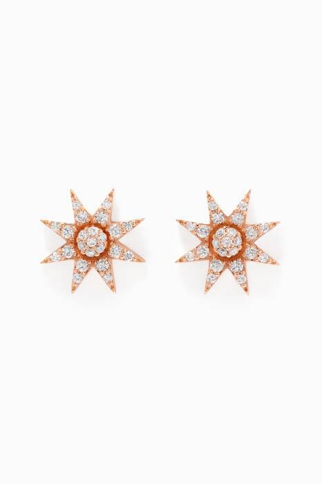 Rose-Gold & Venus Star Diamond Earrings