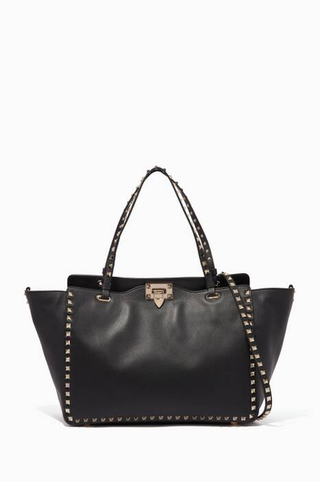 Black Medium Trapeze Rockstud Tote Bag