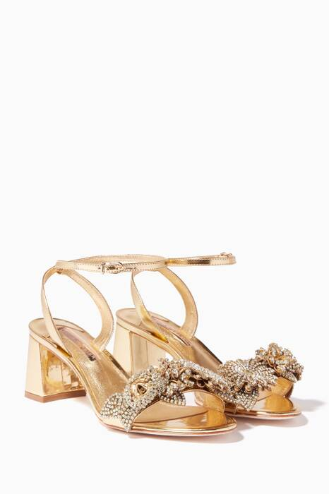 Rose-Gold Mirrored Crystal Lilico Sandals