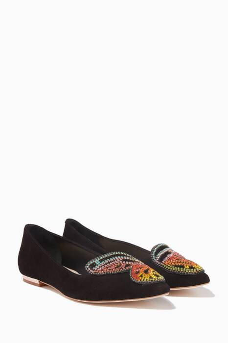 Black Rainbow Crystal-Embellished Butterfly Flats