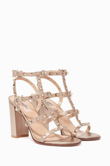 Gold Rockstud Block-Heel Sandals
