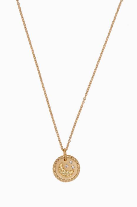 Yellow-Gold & Diamond Moon & Star Necklace