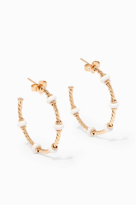 Yellow-Gold & White Agate Rondelle Hoop Earrings