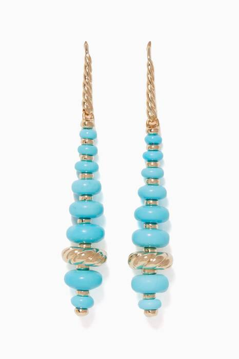 Yellow-Gold & Turquoise Rondelle Drop Earrings