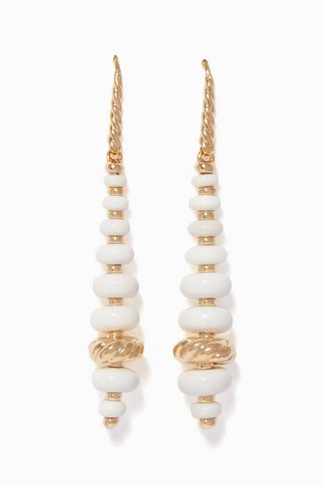 Yellow-Gold & White Agate Rondelle Drop Earrings