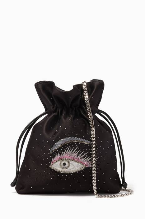 Black Crystal Embroidered Eye Trilly Pouch Bag