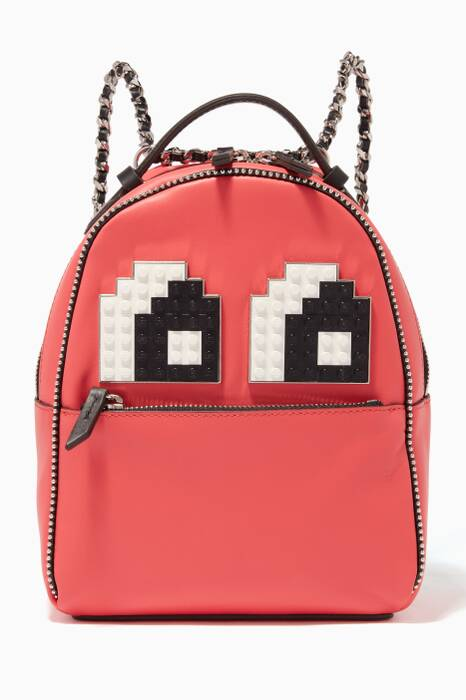 Red Baby Mick Eyes Leather Backpack