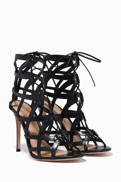 Black Lace-Up Caged Booties