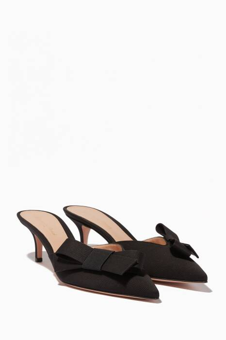 Black Grosgrain Point-Toe Pumps