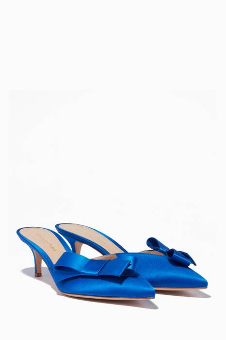Blue Satin Bow Point-Toe Pumps