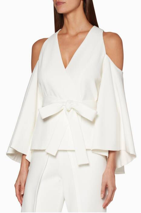 White Cold-Shoulder Nila Top