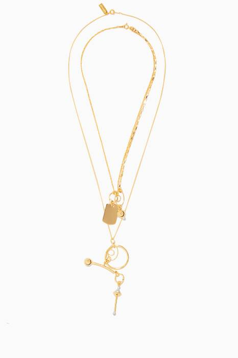 Gold Micro Kinesis Pendant Necklace Set