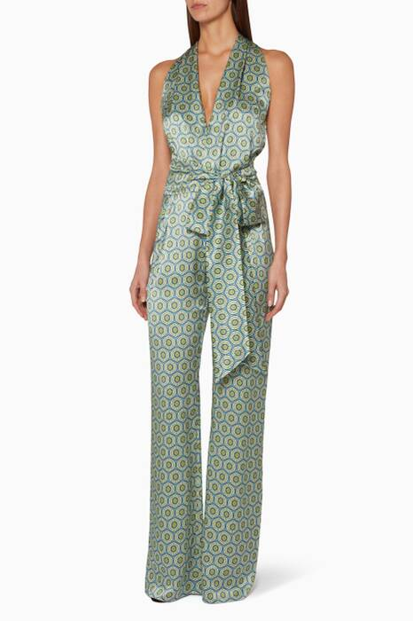 Blue Printed Heyday Jumpsuit