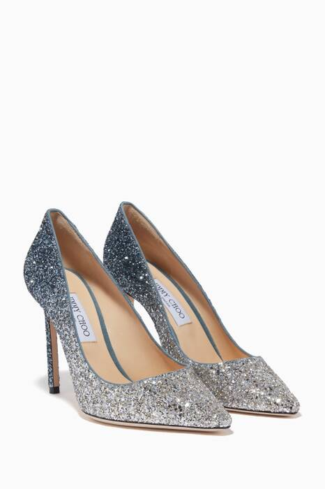 Silver & Dusk-Blue Romy 100 Pumps