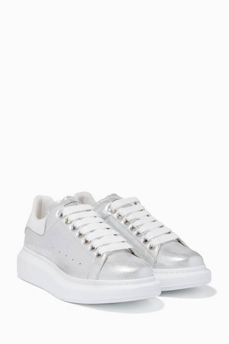 Metallic Silver Classic Larry Iguana-Effect Sneakers