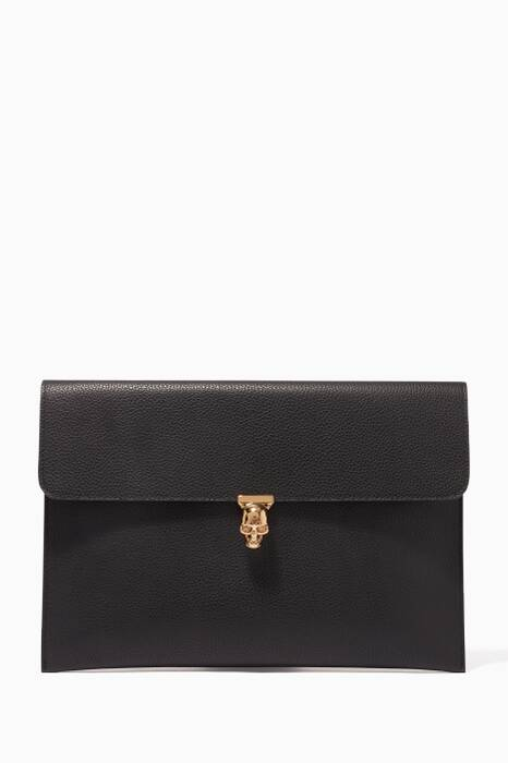 Black Skull Envelope Clutch