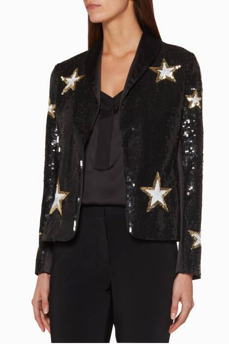 Black Sequin Embellished Donatello Jacket