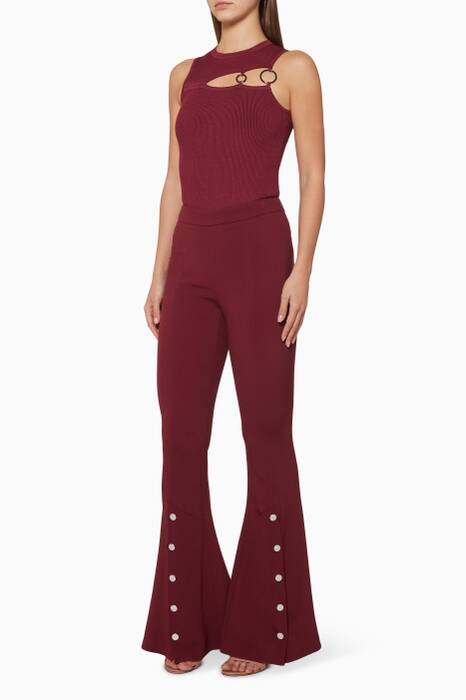 Burgundy Cut-Away Leandra Bodysuit