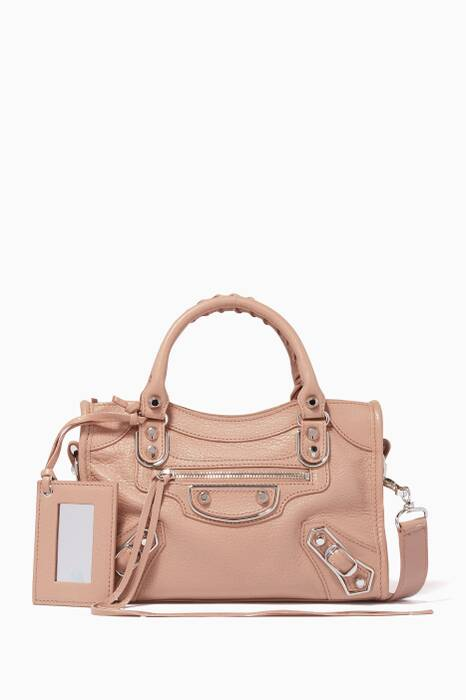 Light-Pink Mini Metallic Edge City Medium Cross-Body Bag