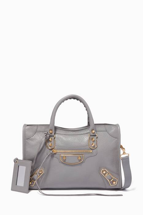 Light-Grey Small Classic Metallic Edge City Shoulder Bag