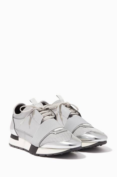 Silver Mirrored Race Runner Low-Top Sneakers
