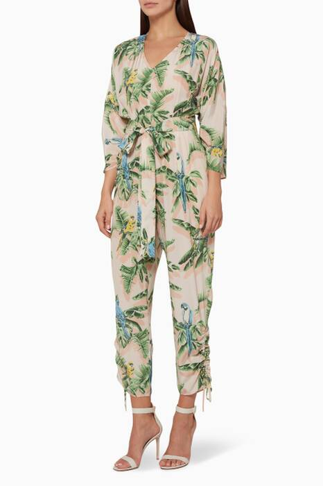 Light-Pink Birds of Paradise Jumpsuit