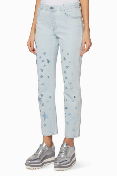 Light-Blue Star-Print Boyfriend Jeans