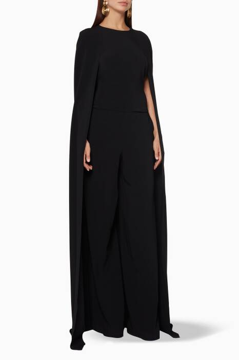 Black Diana Cape-Back Jumpsuit