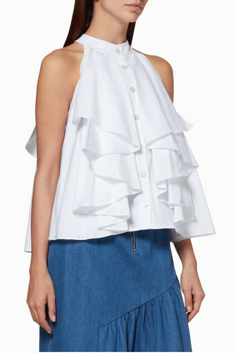 White Ruffled Adrie Blouse