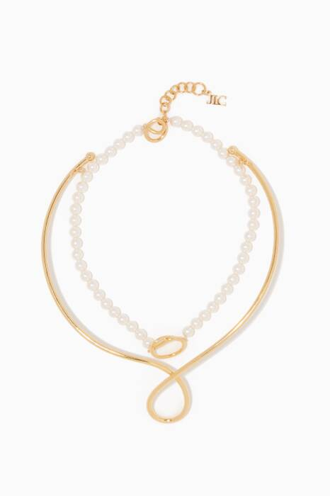Gold & Pearl Why Knot Necklace
