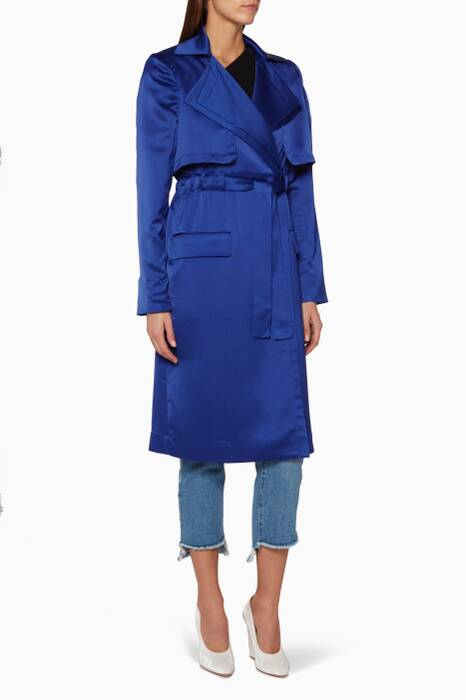 Ultramarine-Blue Harrow Belted Trench Coat