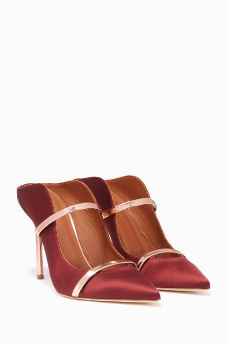 Burgundy Satin Metallic Heel Maureen Mules
