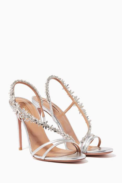 Metallic Silver Chateau Crystal Sandals