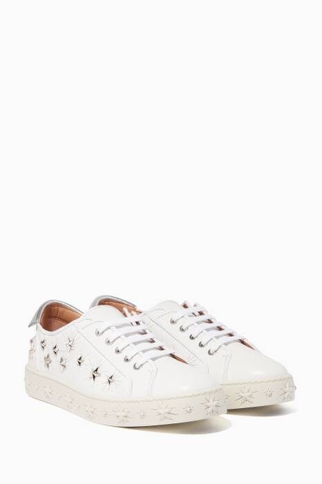 White Cosmic Star Studded Sneakers