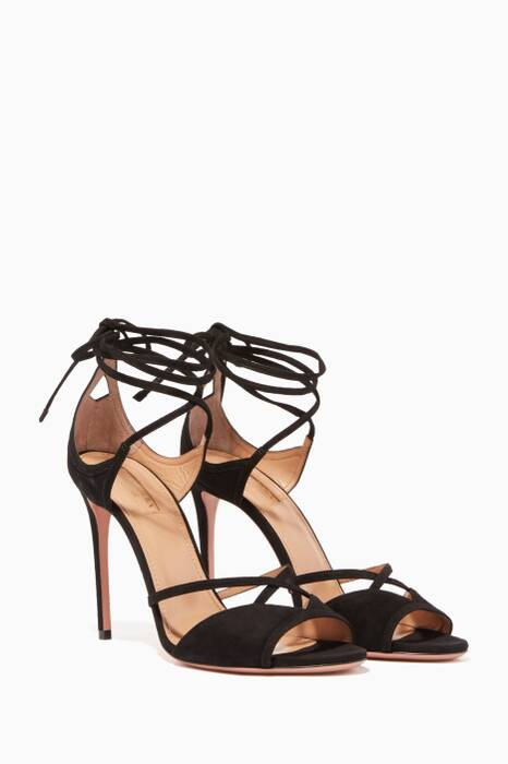 Black Nathalie Suede Wrap Sandals