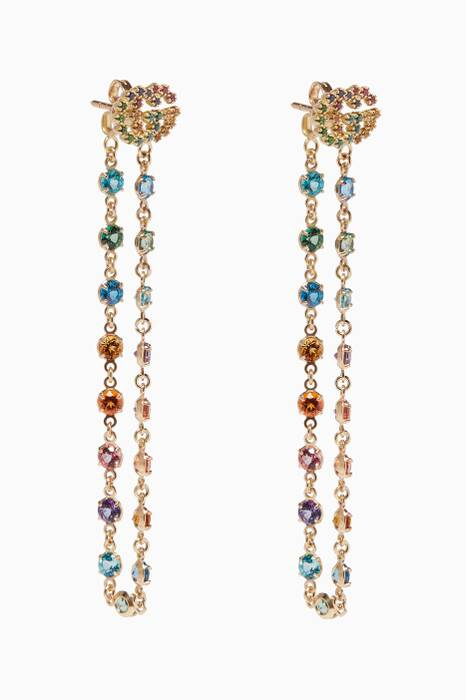 Yellow-Gold & Multi-coloured Stone Earrings