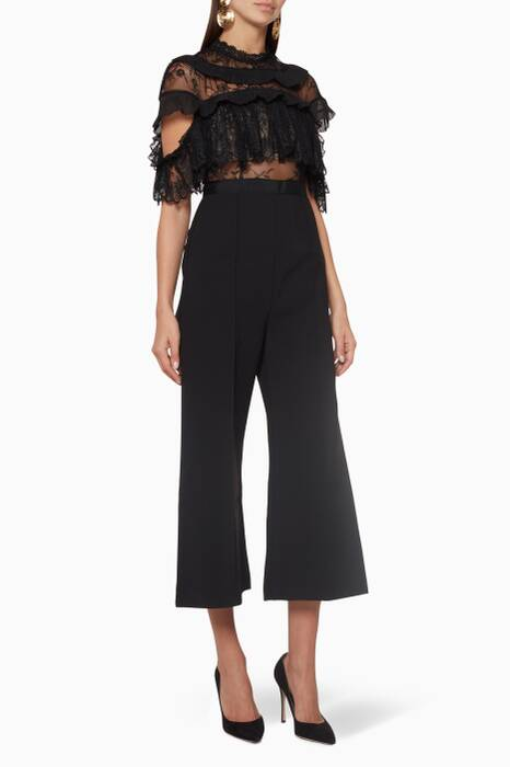 Black Fine Lace Jumpsuit