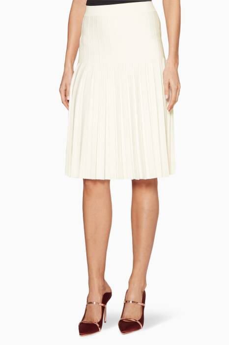 White Compact Pleated Skirt