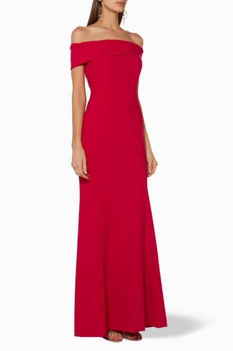 Red Off-Shoulder Gown