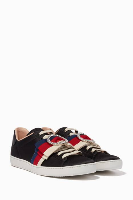 Black Ace Satin Sylvie Bow Sneakers