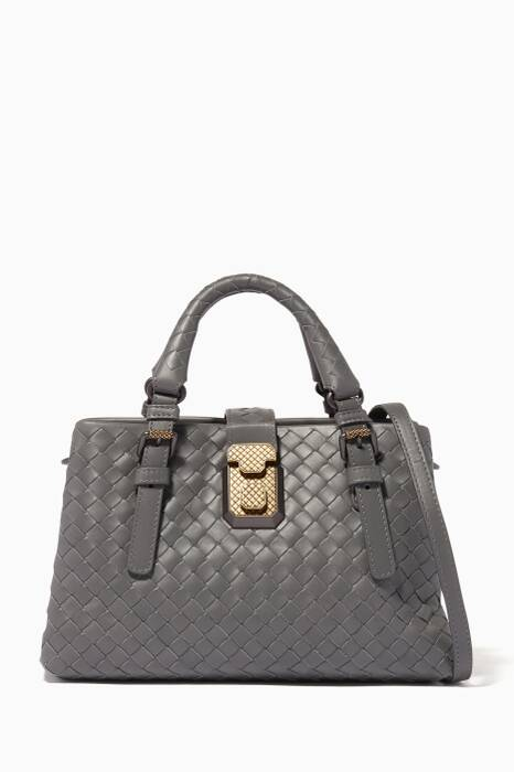 Light-Grey Mini Roma Intrecciato Leather Tote Bag