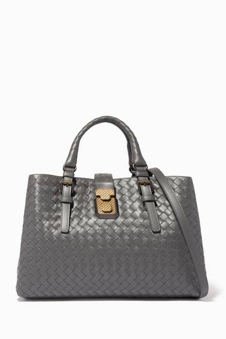 Light-Grey Small Roma Intrecciato Leather Tote Bag
