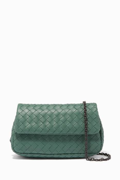 Green Mini Intrecciato Messenger Cross-Body Bag