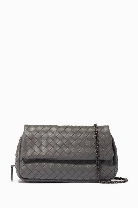 Light-Grey Mini Intrecciato Messenger Cross-Body Bag
